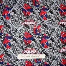 Marvel Comic Fabric - Ultimate Spider-Man Gray Building - Camelot Cottons YARD