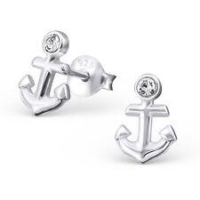 Qualität 925 Sterling Silber Ohrringe - Kleinem Anker Stecker w/ CZ - Box
