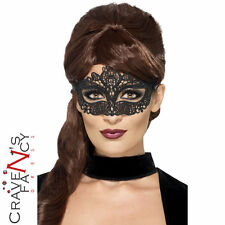 Black Venetian Lace Filigree Halloween Masquerade Mask Masked Ball Eyemask Prom