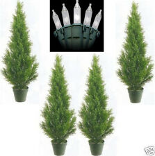 4 CEDAR IN OUTDOOR 3' TOPIARY TREE PLANT ARTIFICIAL BUSH WITH CHRISTMAS LIGHTS