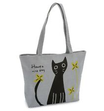 Grey Cotton Tote Shopper Bag with Black Cat