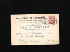 LIBRARY University Toulouse France 1902 Receipt Postcard to Ithaca New York 6v