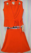 "VINTAGE 1970s RED SKIRT SET - NEW OLD STOCK! - SIZE 16 - ""FLATTERY"""