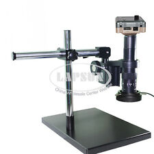 180X 1080P 60FPS HDMI Industrial C-mount Microscope Camera + Dual Arm Stand +LED
