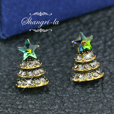 Vintage Style D GOLD Layered STAR XMAS TREE Earrings SWAROVSKI CRYSTAL DY4424