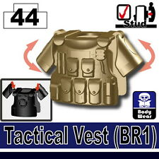 Dark Tan BR1 (W54) Tactical Army Vest compatible with toy brick minifigures SWAT