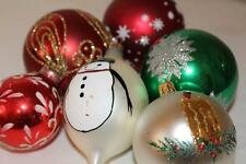 Vtg Lot/6 Glass Christmas Tree ORNAMENTS W Germany Colombia Circle 'K' ~ (6)