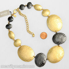 Chico's Signed Chain Necklace Hammered Gold Tone Black Enamel Ovals NWT