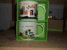 "starbucks  ""you are here"" coffee mug set - detroit and michigan - both included"