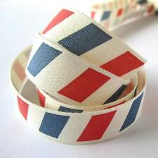 5 metres 16mm red and blue airmail barber shop stripe cotton ribbon- zakka retro