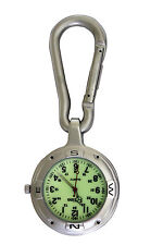 Entino Silver Clip on Carabiner FOB Watch For Nurses Doctors Chefs Luminous Face