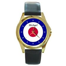 RAF ROUNDEL TARGET BADGE ROUND WRISTWATCH **ANY NAME OF YOUR CHOICE**