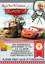 NEW Personalised Birthday Party Invitations Disney Cars 8 cards 2 Designs (A6)