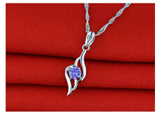 Sterling SILVER Heart Angel Wing Pendant NECKLACE Swarovski CRYSTAL Chain H1/4