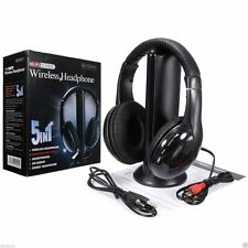 5 in 1 Hi-Fi FM Radio Wireless Headset Headphone Earphone DVD MP3 RCA Audio Jack