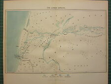 C1890 antique map ~ the lower sénégal afica ~ st louis dakalifa sea profondeurs