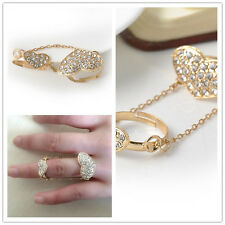 Rhinestone Crystal Above Knuckle Ring Band Midi Ring Tassel Heart Shaped Gold