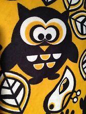 Fabric Owls Large Chunky Yellow Flannel 3/4 Yard