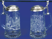 WOLF Etched Glass German Beer Stein w/ Pewter Wolf Head Lid Beer Glass Wolf Mug