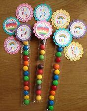 Unicorns & Rainbows Personalised Lolly Tubes~Birthday, Baby Shower, Christening