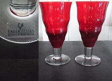 2 GALLO DESIGN Villeroy & Boch Red Crystal Glass Set lot verre vin cristal rouge