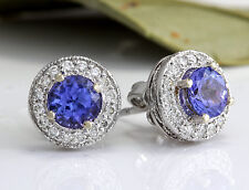 Estate 2.45Ct Natural Tanzanite and Diamond 14K Solid White Gold Earrings