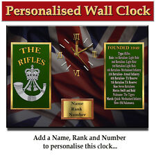 Personalised The Rifles Regiment Army Military Wall Clock Gift