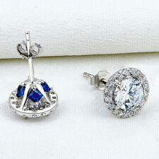 1ct Women's Round White Sapphire Blue 925 Sterling Silver Gemstone Stud Earrings