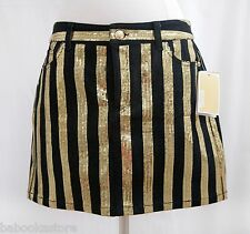 Gorgeous Michael Kors Black & Gold Sequin Stripe Denim Mini Skirt NWT Sz.4