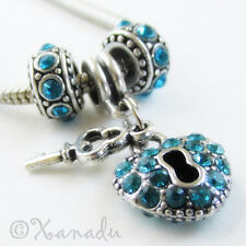Teal Turquoise Key To My Heart Charm Beads For European Charm Bracelets