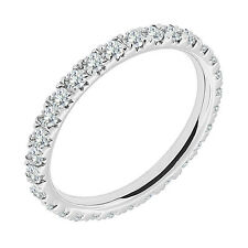 1 Carat G-H Diamond Full Eternity Anniversary Band Bridal Ring 14K White Gold