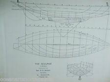 ANTIQUE PRINT C1895 DIXON KEMP YACHT & BOAT SAILING THE SCOURGE BOAT PLAN 1894