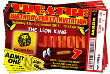 BIRTHDAY PARTY INVITATIONS Theatre Personalised Ticket Style