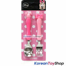 Disney Mickey Minnie Mouse Stainless Steel Spoon Fork Set / Minnie Pink BPA Free