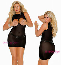 Queen Size OPAQUE CUPLESS Mini Dress Chemise OPEN CUP XL to 1X