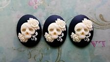 40x30mm Rose Glamour Skull Cameos (3) - L923-3 Jewelry Finding