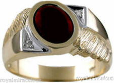 Mens Cabichon Garnet & Diamond Ring Yellow Gold Plated Silver