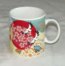 Starbucks Coffee Mug Japan 2002 Very Rare Cranes Cats Mt. Fugi Fans Fish