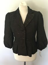 ALBERTO MAKALI Women's Blazer Jacket w/  Puff Sleeves Brown & Gold Sz 4 NWT New