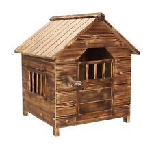DARK WOOD WOODEN OUTDOOR PET DOG HOUSE KENNEL HOME GARDEN SHELTER LOCAKBLE DOOR
