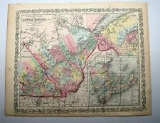 1857 Desilver Antique Atlas Map Print Lower Canada East Quebec Montreal