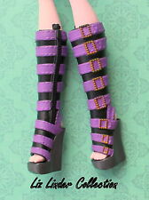 MONSTER HIGH ~ Clawdeen Wolf Ghouls Alive TALL PURPLE BOOTS SHOES