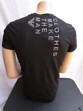 New Emporio Armani Men Black Gray Fashion T-Shirt Fashion Crew-Neck Medium $185