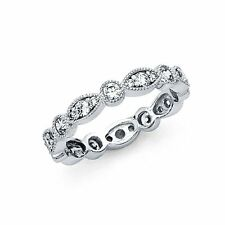 14k Solid White Gold 3.5mm Women Wedding Eternity Band