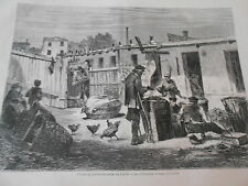 Gravure 1872 - Types parisiens Les Chiffonniers le triage de la hotte