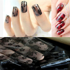 Fashion 3D Black Lace Flower Transfer Foil Stickers Decals Nail Art Decoration