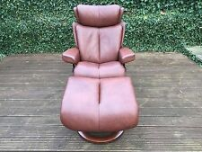 Ekornes Stressless Magic Leather Recliner Armchair with Footstool