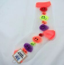Womens Multi-colored Smiley Face SHEER Fashion CREW Socks size 9-11 orange Trim