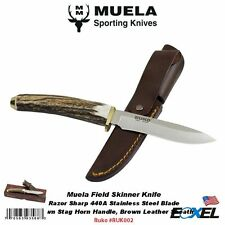 Ruko-Muela #RUK002 Field Skinner Knife, Stag Horn Handle, Leather Sheath, Spain