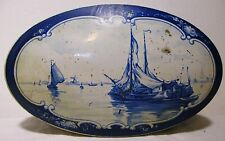 Antique Vintage Oval White Blue Delft Dutch Style Tin Can Droste Haarlem Holland